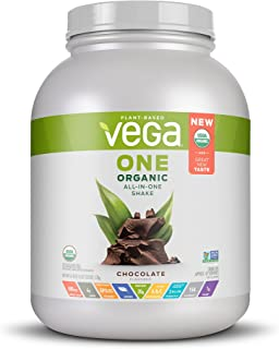 Vega One Organic Meal Replacement Plant Based Protein Powder, Chocolate - Vegan, Vegetarian, Gluten Free, Dairy Free with Vitamins, Minerals, Antioxidants and Probiotics (42 Servings, 3lb 13.8oz)