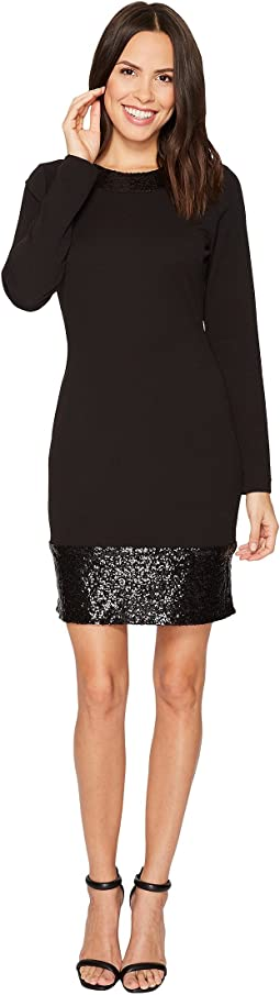 MICHAEL Michael Kors - Sequin Combo Long Sleeve Dress