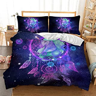 Galaxy Unicorn Bedding Sets 3 Piece Feather Dream Catcher Duvet Cover Feather Starry Sky Horse Pattern Comforter Cover Cartoon Unicorn Theme Quilt Cover for Kids Girls Woman, Queen Size