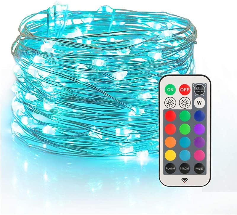 YIHONG Fairy String USB Plug In Lights 33ft Long Twinkle Lights Color Change Firefly Lights With RF Remote 13 Vibrant Colors Fade Flash Strobe Modes