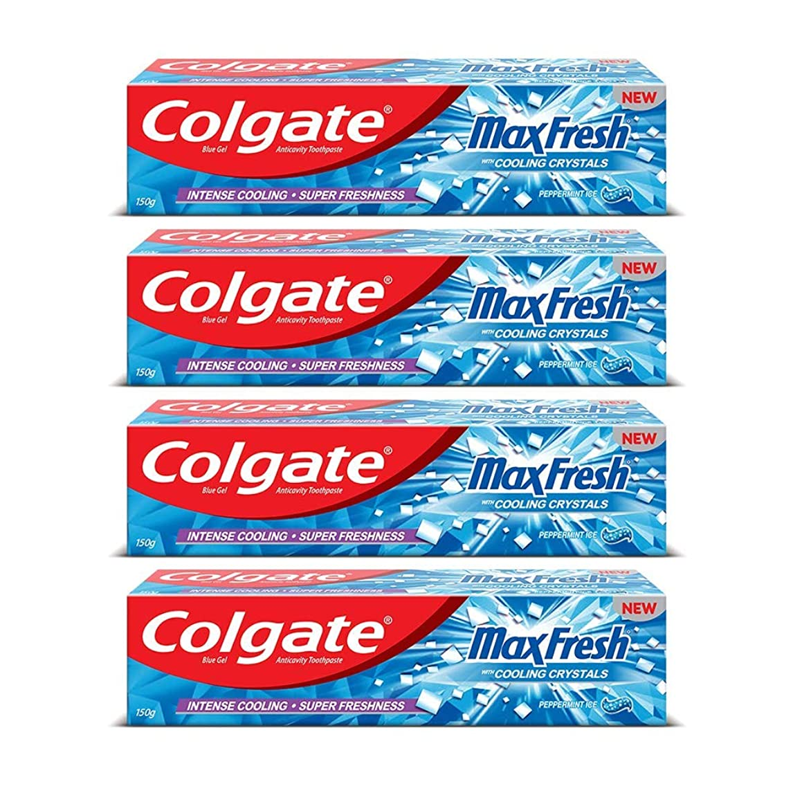 時代遅れ暴君白雪姫Colgate Max Fresh Anti-Cavity Toothpaste, Peppermint Ice, 150gm (Pack of 4)