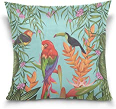 "MASSIKOA Tropical Parrots Toucan and Flowers Decorative Throw Pillow Case Square Cushion Cover 20"" x 20"" for Couch, Bed, S..."