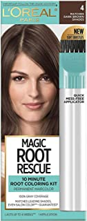L'Oreal Paris Magic Root Rescue 10 Minute Root Hair Coloring Kit, Permanent Hair Color with Quick Precision Applicator, 100 percent Gray Coverage, 4 Dark Brown, 1 kit (Packaging May Vary)