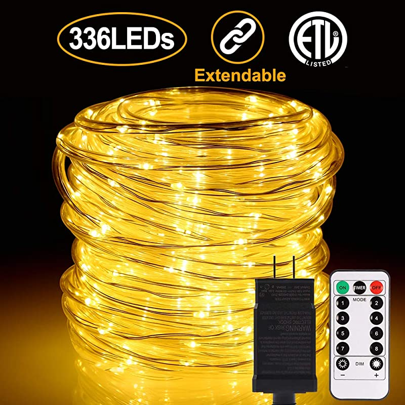 ALOVECO LED Rope String Lights Outdoor 72ft 336 LEDs Rope Lights 24V Plug In Rope Lighting Extendable Remote Dimmable 8 Modes Waterproof ETL Listed For Tree Patio Garden Fence Roof Warm White