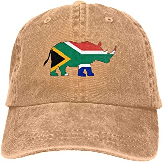 YLW49Y Baseball Cap for Men and Women, Rhino South Africa Flag Women's Cotton Adjustable Jeans Cap Hat