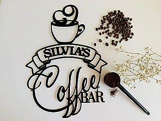 Personnalisé café de signe en métal, Barre Accessoires et décoration murale, Idée de Cadeau pour Les Amateurs de café, Vot...