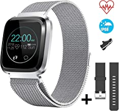 CatShin Smart Watch Fitness Tracker Watch with Heart Rate Monitor-CS08 Waterproof IP68 Pedometer SMS Remote Camera Control Sleep Monitor for Android/iOS Swimming Smartwatch for Women Men (Silver)