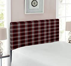 Ambesonne Plaid Headboard, Composition of Traditional Scottish Geometric Elements Abstract Design, Upholstered Decorative Metal Bed Headboard with Memory Foam, Twin Size, Vermilion Eggplant