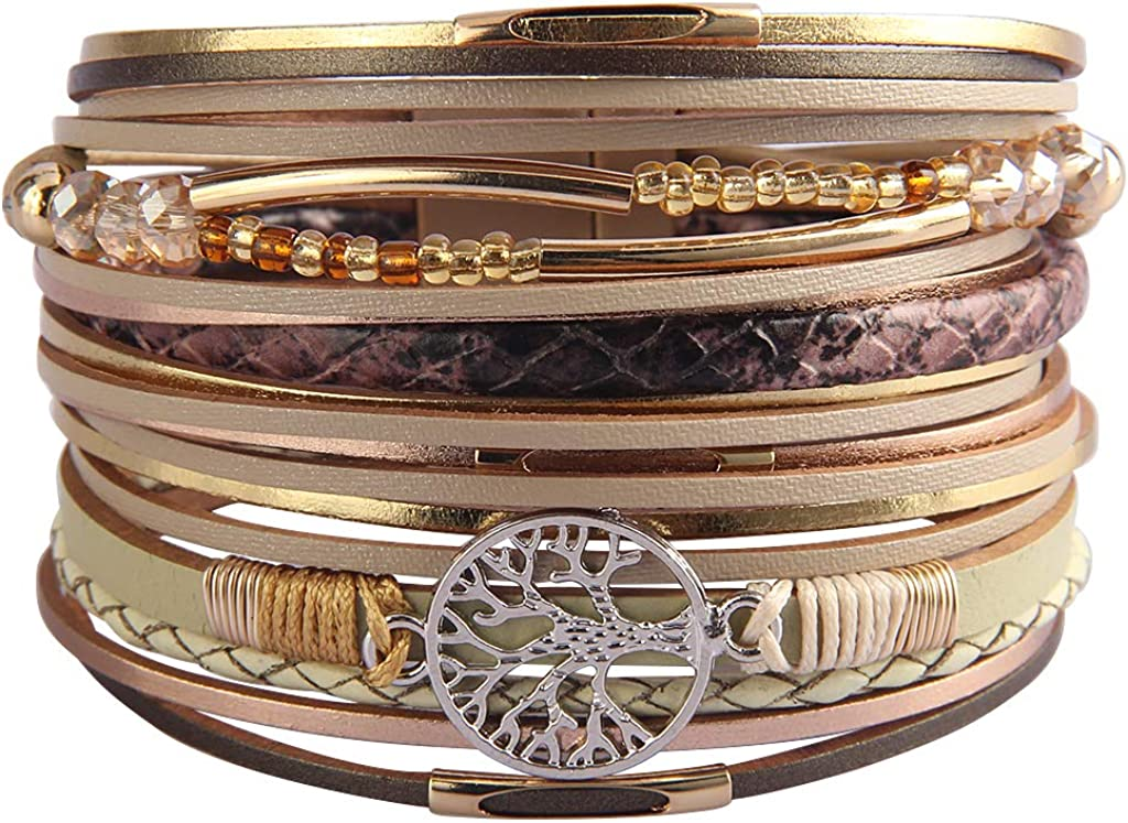 Evchris Tree of Life Leather Wrap Bracelet Multi-Layer Boho Wide Buckle Magnetic Wristband Bangle Braided Cuff Bracelets for Women,Lover