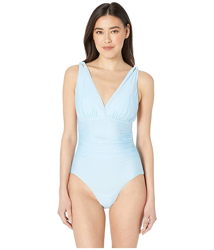 Athena Solid Over the Shoulder Surplice One-Piece (Sky Blue) Women