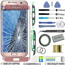 ACENIX® Kit de reparación de lente de cristal exterior de repuesto para Samsung Galaxy S7 Edge oro rosa + cinta de 2 mm y herramientas de apertura