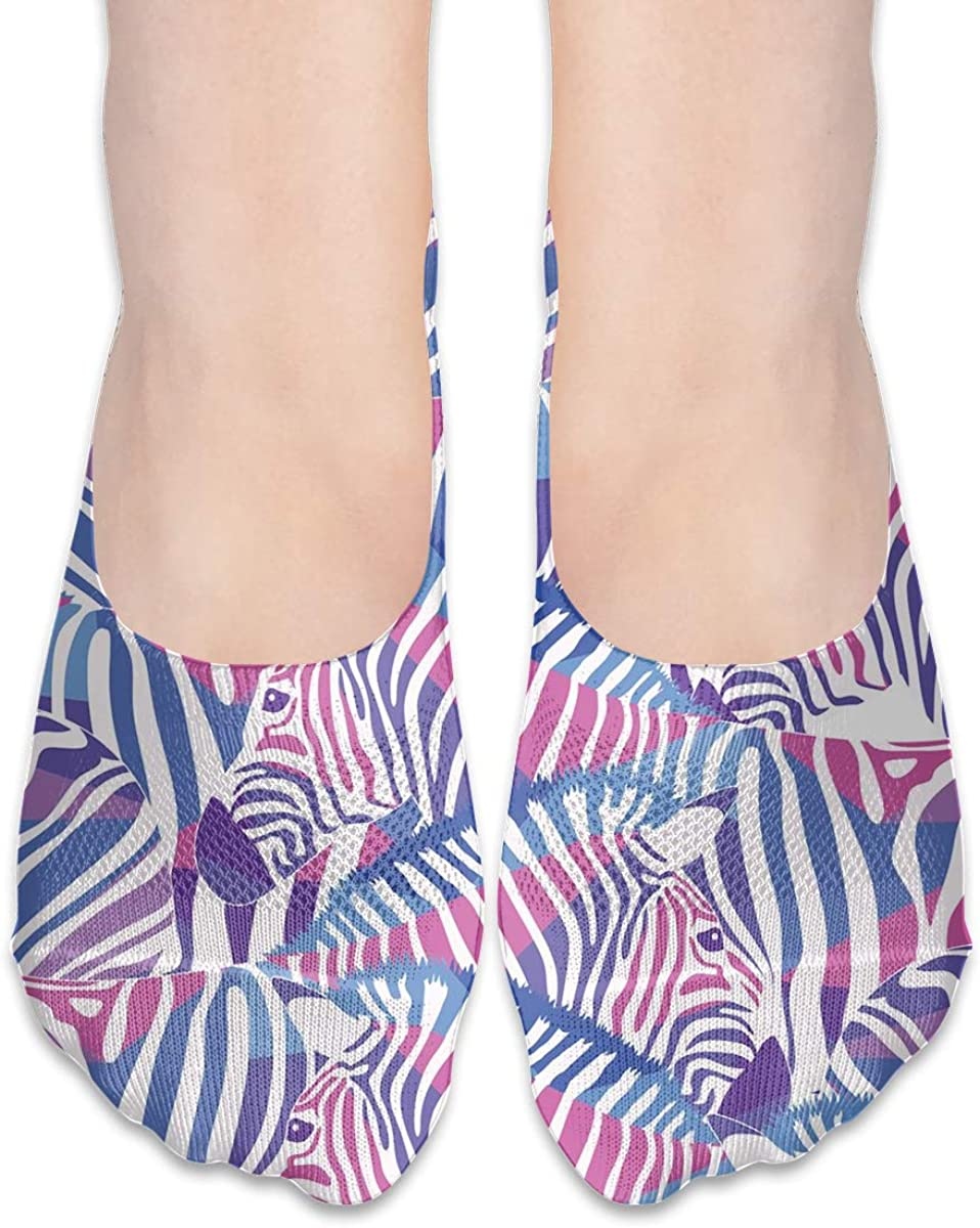 No Show Socks Women Men For Watercolor Purple Zebra Pattern Flats Cotton Ultra Low Cut Liner Socks Non Slip