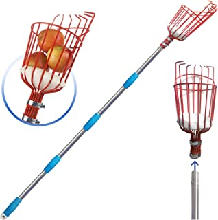 COCONUT Fruit Picker Tool, Fruit Picker with Basket and Pole,Easy to Assemble & Use Fruits Catcher Tree Picker for Getting Fruits (5.5ft)