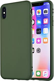 MANLENO Compatible with iPhone Xs Max Case,iPhone Xs Plus Case, Slim Fit Full Matte Skin Case Soft Flexible TPU Cover Case for iPhone Xs Max 6.5 inch (Hunter Green)