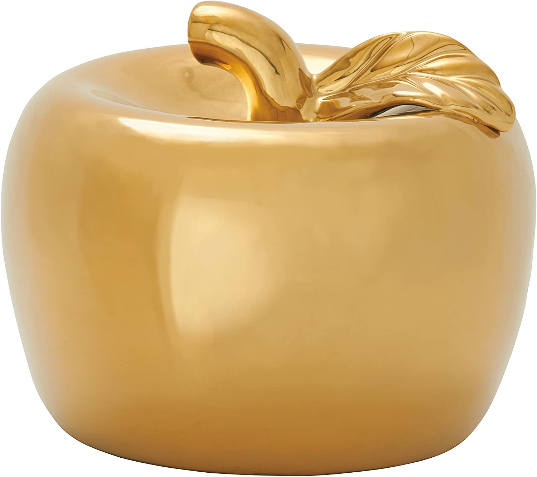 Benzara 59706 Outstanding Ceramic Apple, gold