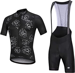 Men's Short Sleeves Cycling Jersey Set Road Bike Bib Jersey Suit Cycle Shorts with 3D Gel Padded