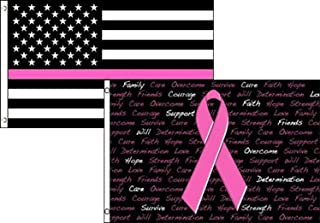3x5 Breast Cancer Awareness Pink Ribbon & USA American Thin Pink Line Combo (2 pack) Wholesale Flag 3 x 5 3'x5' Brass Grommets Premium Polyester Nylon Fade Resistant Fabric