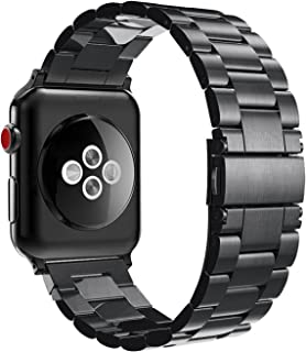 Fintie Band for Apple Watch 44mm 42mm Series 5/4/3/2/1, Premium Stainless Steel Metal Replacement Wrist Strap Bracelet Compatible with All Versions 44mm 42mm Apple Watch, Black