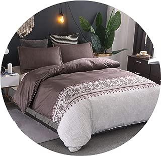 Dreamedge bedclothes Minimalist Bed Duvet Cover Set Luxury European Comforter Bedding Sets Solid Pattern Reversible Bedding Set King Size,color4,Full