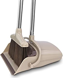 BELLEFORD Broom and Dustpan Set [2019] Stand Up Brush and Dust Pan Combo for Upright Cleaning - Remove Hair with Built-in Wisp Scraper - Kitchen, Outdoor, Hardwood Floor & Garage Tiles Clean Supplies