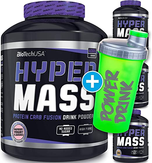 Biotech USA Hyper Mass - Lata de 4 kg, triCarbo Matrix, maltodextrina, almidón de maíz, 4 sabores + coctelera CP Sports (Caramell Cappuccino, 4000)