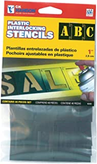CH Hanson 10191 Plastic Interlocking Stencils, 1 inch, 46 piece set