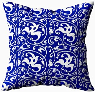 Musesh ikat floral damask cobalt blue and white Cushions Case Throw Pillow Cover For Sofa Home Decorative Pillowslip Gift Ideas Household Pillowcase Zippered Pillow Covers 16X16Inch
