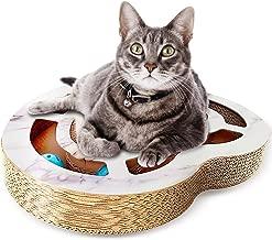 Nittis Heart-Shaped Scratcher Cat Toys Bell Balls,Interactive cat Toys,Deluxe Cat Scratcher Lounge,Cardboard Cat Scratching Post