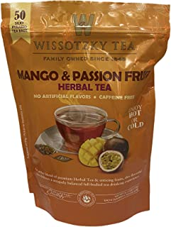 Wissotzky Tea Mango and Passion Fruit Herbal Tea - Bag of 50 Silky Pyramid Tea Bags