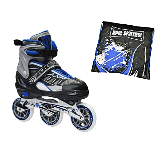 Epic Shield Black & Blue Indoor / Outdoor 90mm 3-Wheel Tri-Skate Inline