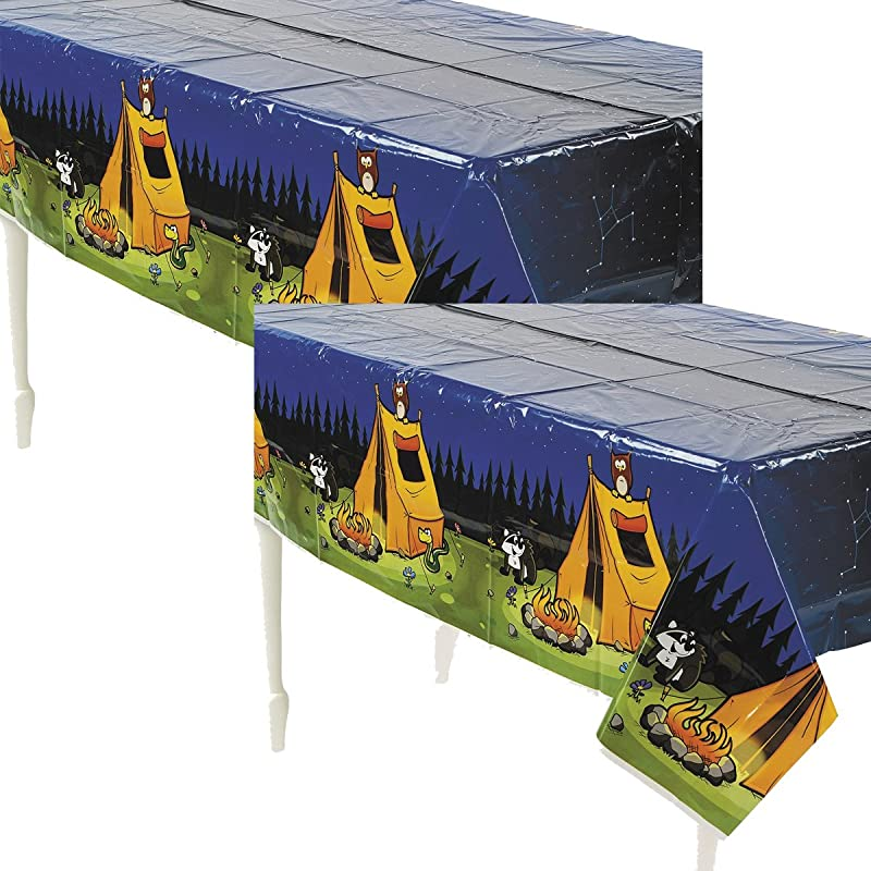 Fun Express Camping Camp Adventure Plastic Tablecover 54 X 108 2 Pack
