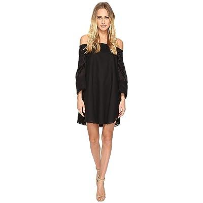 Halston Heritage Wide Long Sleeve Dress w/ Cold Shoulder Detail (Black) Women