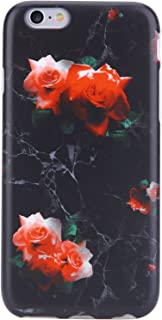 VIVIBIN iPhone 6 Plus Case,iPhone 6s Plus Case,Cute Red Roses Black Marble for Women Girls Clear Bumper Protective Soft Silicone Rubber Matte TPU Cover Slim Fit Phone Case for iPhone 6 Plus/6s Plus