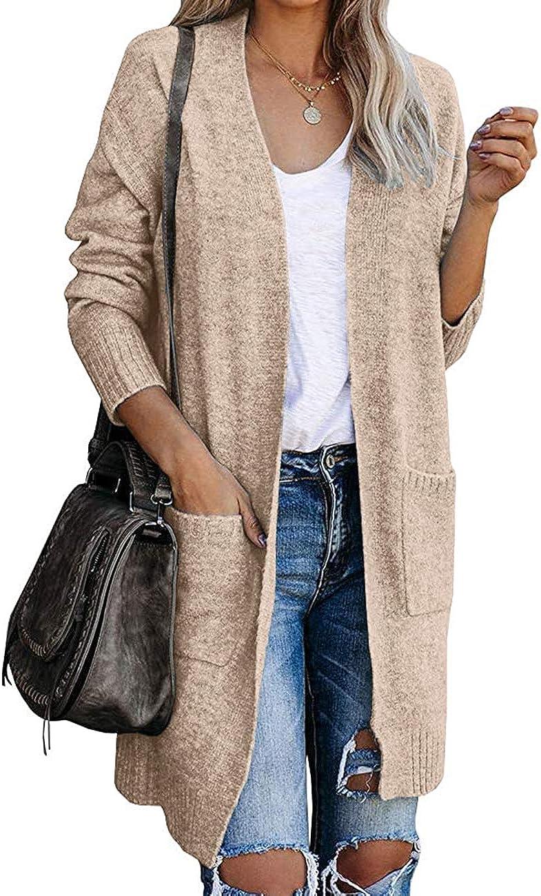MEROKEETY Women's Basic Open Front Knit Long Sleeve Cardigan Sweater Ribbed Outwear