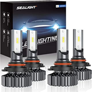 SEALIGHT 9006/HB4 9005/HB3 LED Headlight Bulbs High Low Beam, Combo Package CSP Led Chips Hi/Lo lights - 13000lm 6000K White