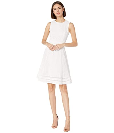 Calvin Klein Cotton Eyelet A-Line Dress (White) Women