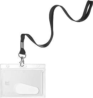 karteo® Porte-badges avec bande 16 mm Cordon porte-clés Lanyard Noir en plastique avec crochet rotatif en métal