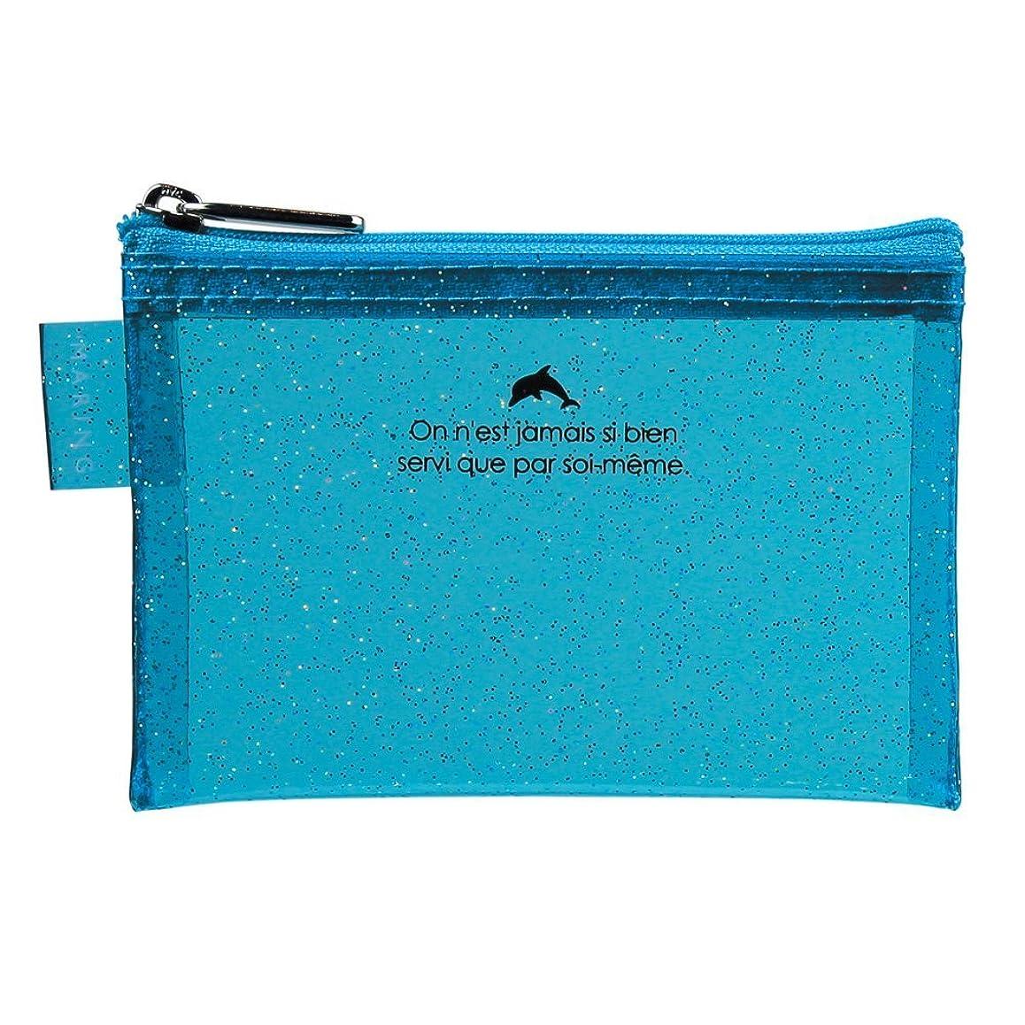 意義昼食演劇セキセイ マリング ポーチ デコチラ CARDサイズ ブルー MR-1730-10 【まとめ買い5冊セット】