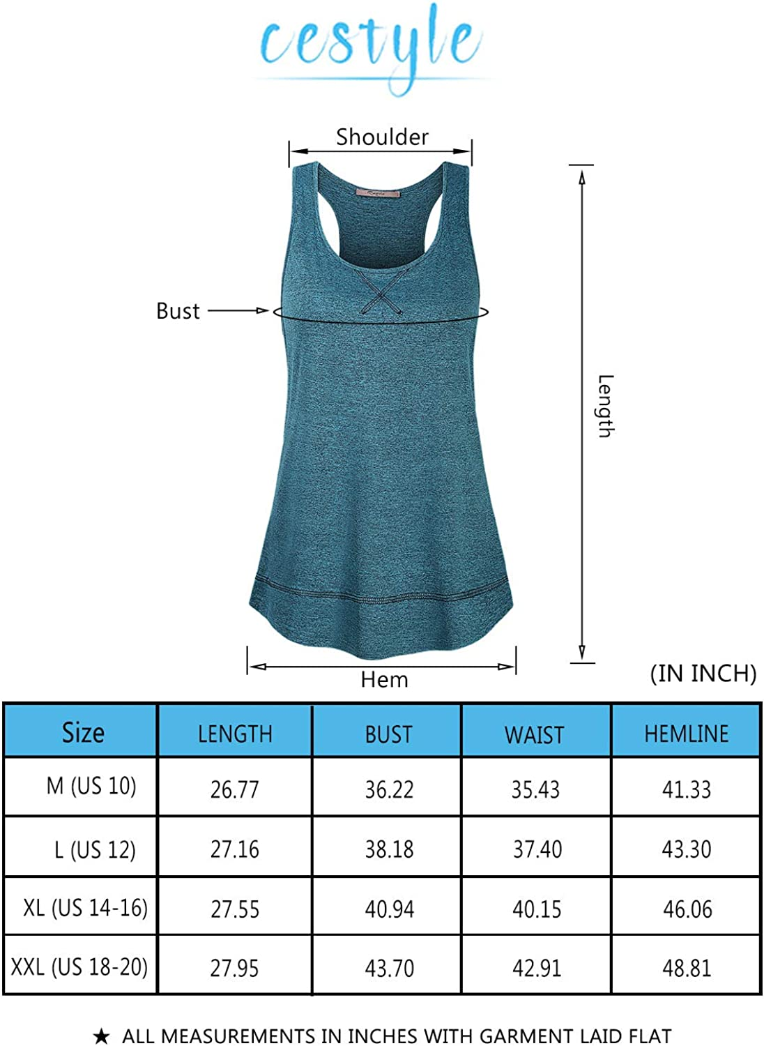 Cestyle Womens Round Neck Yoga Tops Workout Running Shirts Activewear