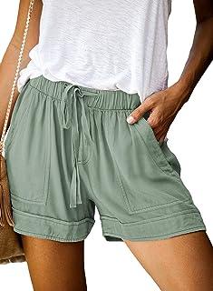 Sponsored Ad - Dokotoo Womens Comfy Drawstring Casual Elastic Waist Pocketed Shorts