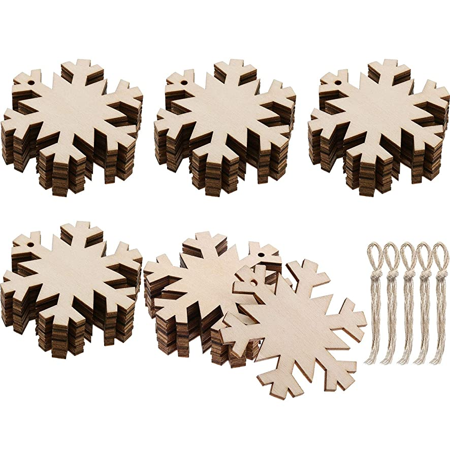 Jetec 50 Pieces Wooden Snowflakes Unfinished Wood Ornaments Cutouts Christmas Wood Snowflake with 50 Pieces Ropes for Christmas Decoration Christmas Tree Hanging Embellishments and Craft DIY