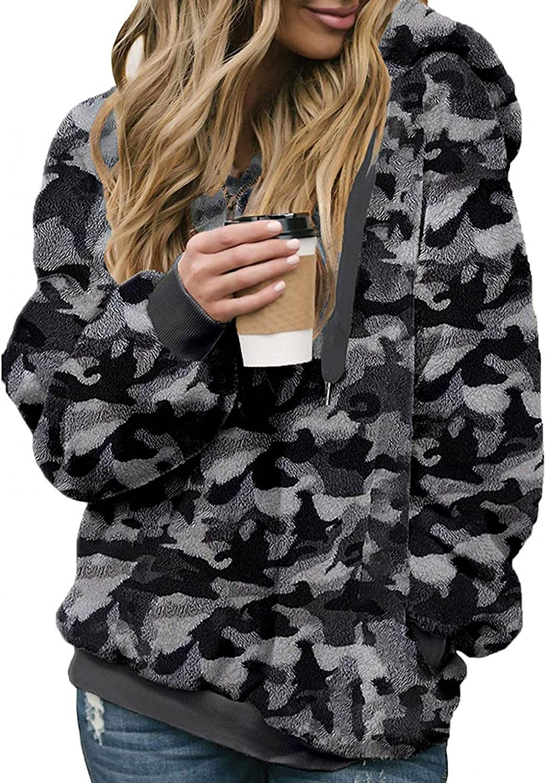 VISLINDU Hoodies for Women Camo Super beauty product restock quality top! Sweaters Warm Pullover Virginia Beach Mall Print Fuz