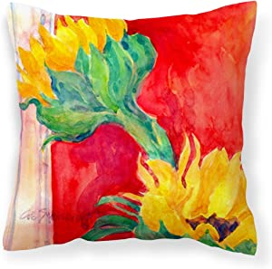 Caroline's Treasures 6111PW1414 Flower - Sunflower Decorative Canvas Fabric Pillow, 14Hx14W, Multicolor