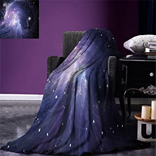 Fenlin Outer Space Throw Blanket Space Nebula in Galaxy Complex Energy Movements Cosmos Theme Inspiring Print Warm Microfiber All Season Blanket for Bed or Couch Navy Purple
