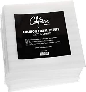 """Premium Foam Packing Sheets(50Count, 12"""" x 12"""") Cushion Foam Wrap Sheets, Moving Supplies for Dishes, Glasses & Furniture, Packing Cushioning Supplies, Soft & Durable Packing Sheets"""