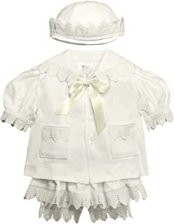 Victorian Organics Baby Girl Sailor Set 4 Piece Organic Cotton and Lace Jacket Hat Dress and Bloomers