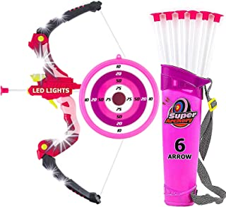 Toysery Bow and Arrow Archery Set - Comes with 6 Arrows - Equipped with Attractive LED Lights - Develop Hands-Eye Coordination of Your Kids - Lightweight and Easy to Carry - Dream Gift for Girls