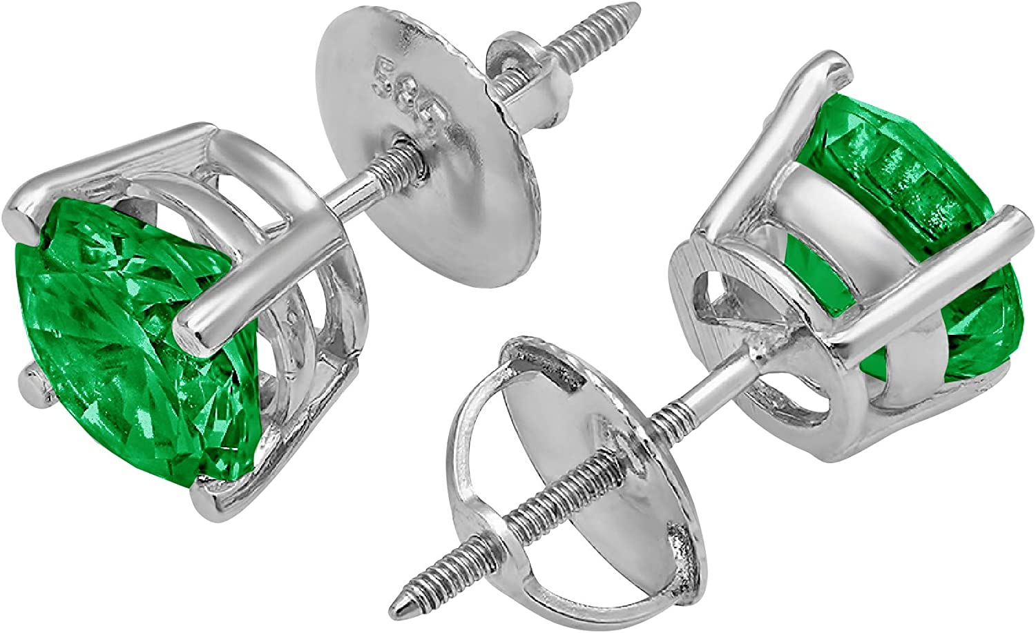 Clara Pucci 0.90 CT Brilliant Round Cut Conflict-Free VVS1 Ideal Gemstone Birthsone designer Green Fancy Color Stud Earrings Solid 14k White Gold Screw Back