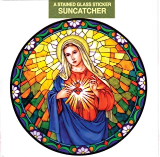Immaculate Heart of Mary Window Decal, Reusable Vinyl Suncatcher, Stained Glass Design
