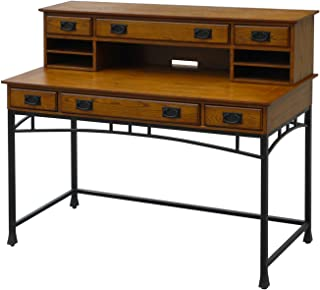 Home Styles Modern Craftsman Oak Executive Desk and Hutch with Poplar Hardwood Construction, Distressed Oak Finish, New Age Metal Accents, Three Drawers, and Hutch with Three Drawers